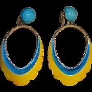 """Kramer 3"""" Enamel Dangling Hoop Earrings - As Is"""