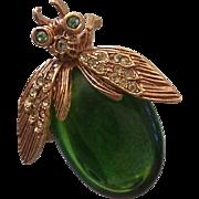 Oscar de la Renta Green Jelly Belly Bug Brooch