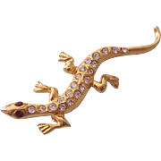 Darling Lizard Brooch Rhinestone Gold tone