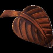 Pedro Pujol Modernist Copper Leaf Brooch