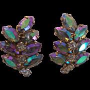 Lewis Segal Aurora Borealis Rhinestone Earrings