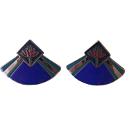 Laurel Burch Retired Water Lily Blue Enamel Silver tone Earrings