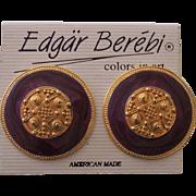 Edgar Berebi Purple Enamel Gold tone Earrings on Card