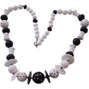 Black and White Plastic Polka Dot Necklace