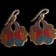 Beautiful Laurel Burch Enamel Butterfly Earrings