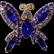 Vintage Blue Rhinestones Butterfly Brooch