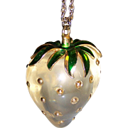 Huge Lucite Studded Strawberry Pendant Necklace