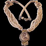 Tribal Carved Bone Elephant Statement Beaded Necklace