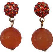 Orange & Tangerine Rhinestone & Moonglow Earrings