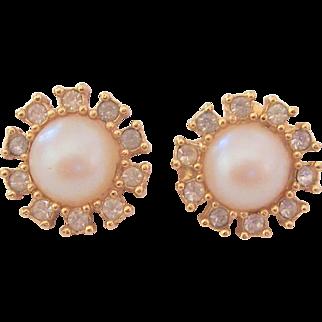 Vintage Richelieu Faux Pearl & Rhinestone Earrings
