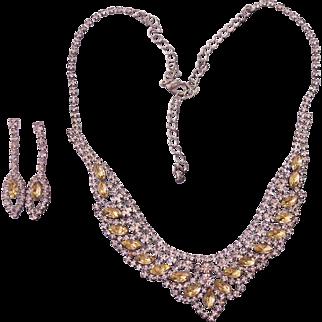 Beautiful Citrine & Clear Rhinestones Necklace Earrings Set