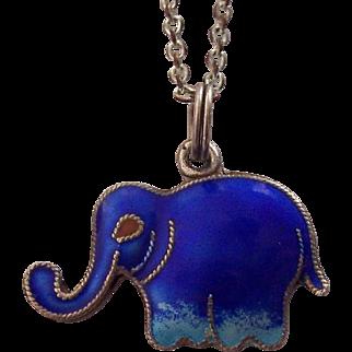 Blue Enamel & Silver Elephant Pendant Necklace