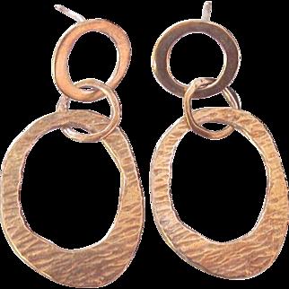 Silpada Interlocking Hammered Modernist Hoop Earrings