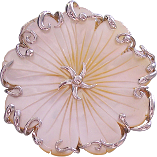 Carved Mother of Pearl Flower Sterling Silver Pendant