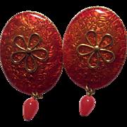 Red/Orange Enamel Pop Art Earrings