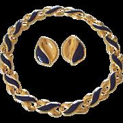 Gold tone & Blue Enamel Necklace & Earrings Set