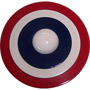 Patriotic Red, White, & Blue Disc Brooch