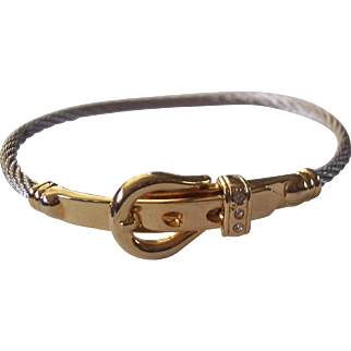 Designer Style Buckle Bracelet Gold and Silver tone