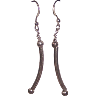 Sterling Silver Curved Tube Earrings