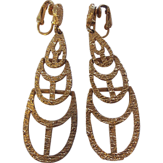 """Long Signed """"ART"""" Textured Earrings Gold tone"""