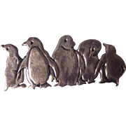 Sterling Great Falls Metal Works Penguins Brooch GFMW
