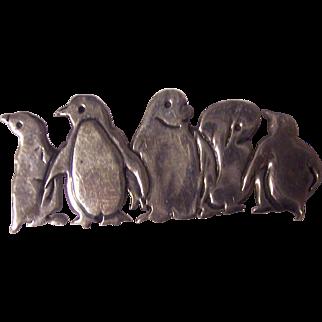 Sterling Great Falls Metal Works Penguins Brooch GFMW