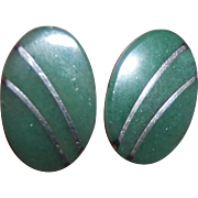 Sterling 950 Silver Mexican Nephrite Jadeite Earrings