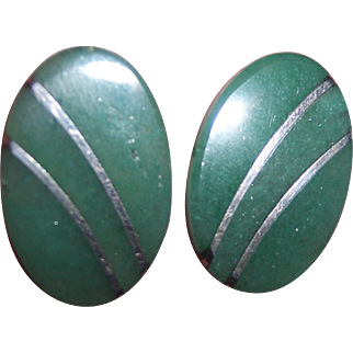 Sterling 950 Silver Mexican Nephrite Jadeite Earrings