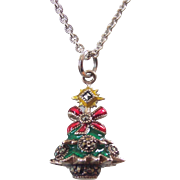 Judith Jack Sterling Enamel Marcasite Christmas Tree Pendant Charm Necklace