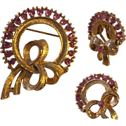 Vintage Pink Rhinestone Wreath Brooch Earrings Gold tone Set