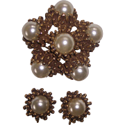 Faux Pearl with Spikey Gold tone Domed Brooch & Earrings by Jeanne