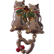 Two Cats Articulating Christmas Brooch by KC