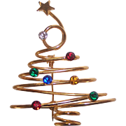 Fun 3 Dimensional Spiral Christmas Tree Brooch Gold tone