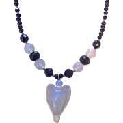 Opalescent Glass Angel Pendant and Beaded Necklace