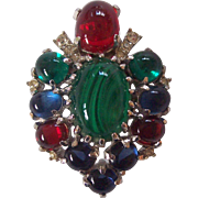 Stunning Art Glass Cabochon Brooch Silver tone