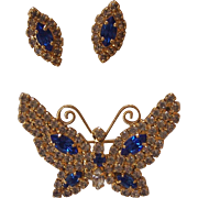 Blue Butterfly Brooch & Earrings BC-LIND Gold tone