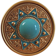 Turquoise Blue Color Cabochon and Enamel Gold tone Brooch Sun Ray