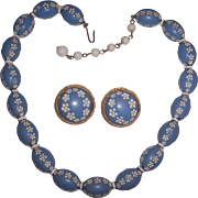 Marvella Wedgwood Blue Carved Necklace & Earrings Set
