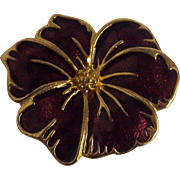 Burgundy Wine Enamel Brooch Flower Gold tone