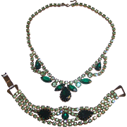 Green Rhinestones Necklace & Bracelet Set Gold tone