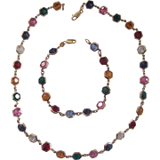 Beautiful Italian Sterling Multi Color Bezel set Crystal Necklace & Bracelet Set