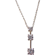 Sterling Silver Faux Diamond CZ Journey Necklace