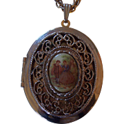 Romantic Courting Couple Fragonard Locket Pendant Necklace