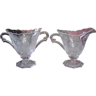 Signed Heisey Orchid Etched Creamer & Sugar