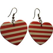 Fun Red Striped Plastic Hearts Valentine's Earrings