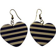 Fun Navy Blue & White Striped PLastic Heart Valentine's Earrings