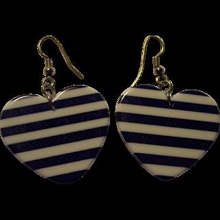 Fun Navy Blue & White Striped PLastic Heart Valentine's Earrings