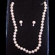 Fresh Water Pearl Sterling Necklace & Earrings Set