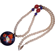Large Puffy Enamel Cloisonne Rooster? Flower Camphor Glass Cinnabar Necklace