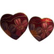 Vintage Red Enamel Cloisonne Heart with Flowers Earrings